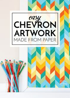 Add a splash of color to your walls by transforming basic cardstock into eye-popping DIY Chevron Artwork with this easy tutorial! Cool Art Projects, Diy Craft Projects, Diy Crafts To Sell, Diy Crafts For Kids, Home Crafts, Diy Home Decor, Project Ideas, White Poster Board, Cricut Tutorials