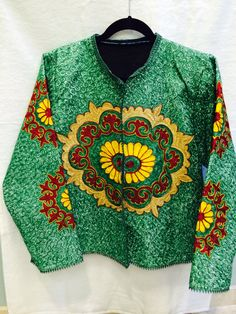 Embroidered Jacket-X-Large-Emerald Green
