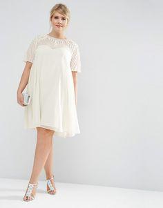 Bild 4 von ASOS CURVE – Ausgestelltes Kleid mit verzierter Passe