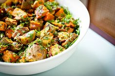 """Kumara Salad with Coriander Lime Dressing.  PS interesting fact: hile the rest of the world calls these delectably sugary root veges """"Sweet Potatoes"""",  in New Zealand they're known by their Maori name Kumara."""
