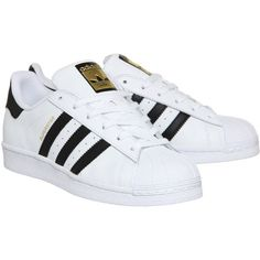 Adidas Superstar Gs ($73) ❤ liked on Polyvore featuring shoes, sneakers, adidas, adidas trainers, low top, adidas shoes, striped sneakers and adidas footwear