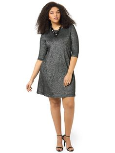 Metallic Knit Dress by Karen Kane, Available in sizes XL,0X/1X/2X and 3X