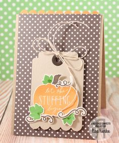 Card by Lisa Henke. Reverse Confetti stamp set: Pumpkin Patch. Confetti Cuts: Pumpkin Patch, Woodgrain, Thanks Tag and Double Edge Scallop. Thanksgiving card. Fall Card.