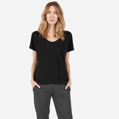 A relaxed U-neck made from the softest cotton we could find. It features a dropped neckline and dolman sleeves.