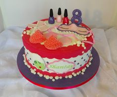 Design was brought in by client, by unknown artist. Unique Cakes, Creative Cakes, Girly Birthday Cakes, Cake Stuff, Spa Party, Occasion Cakes, Girl Cakes, Cute Cakes, Cake Creations