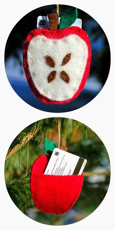 Your child's teacher will love this easy to make Apple Ornament with a gift card pocket! - Fireflies and Mud Pies