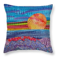 "Spring Sunset Throw Pillow 20"" x 20"" by Susan Rienzo"