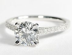 Petite Cathedral Pavé Diamond Engagement Ring in 14k White Gold #BlueNile