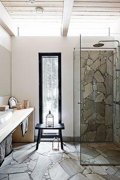 A Minimalist Bathroom With A Floor And A Shower Space Clad With Stone Plus A Sleek Modern Vanity Home Interior, Modern Interior Design, Modern Decor, Mid Century Bathroom, Stone Bathroom, Bathroom Plants, Bathroom Shelves, Small Bathroom, Muuto