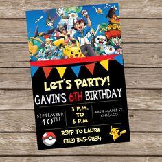 Pokemon Birthday Invitation by TrishaTreeDesigns on Etsy