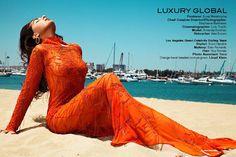 Lloyd Klein tangerine evening gown