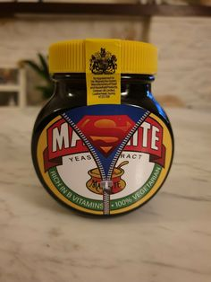 Marmite Supermite YellowTop Edition This is not an official Marmite product, item is handmade. Unopened jar contains marmite Her Majesty The Queen, Marmite, Vintage Posters, Jar, Handmade, Hand Made, Jars, Craft, Glass