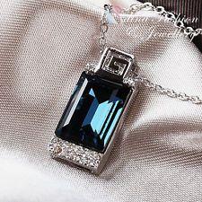 18K White Gold GP Swarovski Crystal Stylish Rectangular Cut Sapphire Necklace
