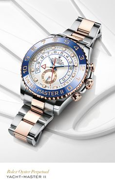 Rolex Yacht-Master II 44 mm in 904L steel and 18 ct Everose gold with a blue ceramic bezel, white dial and Oyster bracelet. #Yachting #RolexOfficial