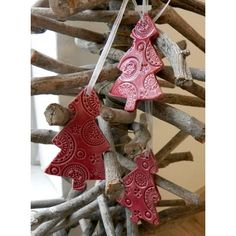 Ceramic Christmas Ornaments Cherry Red Lace Christmas Tree Ceramic... ($16) ❤ liked on Polyvore featuring home, home decor, holiday decorations, red home accessories, red christmas tree ornaments, ceramic christmas ornaments, red christmas ornaments and christmas tree baubles