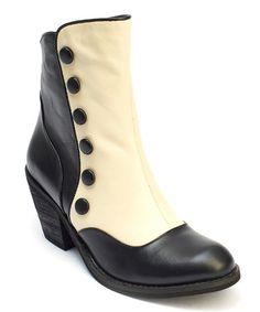 Another great find on #zulily! Black & Cream Gringo Leather Bootie #zulilyfinds