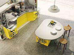 kücheninsel rund gelbe akzente schicke küchengestaltung