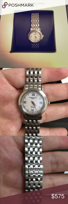 Beautiful Raymond Weil watch Like New Stainless steel, sapphire crystal, white mother of pearl face, date window, diamond markers, folding clasp closure, water resistant Raymond Weil Accessories Watches
