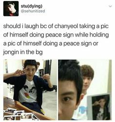 CHANYEOL doing a peace sign while holding a picture of him doing a peace sign and...kai.