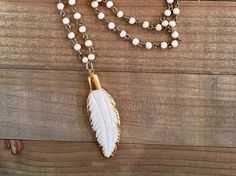 Feather Pendant Necklace by ElidaCreations on Etsy