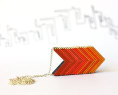 OMBRE ARROWS NECKLACE - red orange necklace, warm shadows. $35.00, via Etsy.