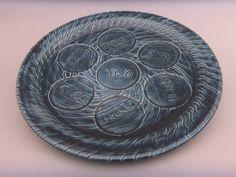 Slate Blue Ceramic Seder Plate