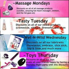 Book a party MONDAY to THURSDAY to get these specials!!   www.DivaliciousButterfly.com or facebook www.facebook.com/passionpartieswithshannon