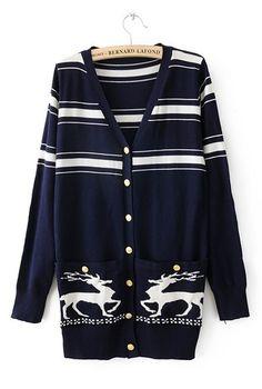 Navy Long Sleeve Deer Print Pockets Cardigan Sweater