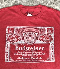 5c50d6565 Great looking BUDWEISER t-shirt. - Heather red with white logo on front.  top neck to bottom, lay flat. armpit to armpit, lay flat. top neck to  bottom, ...