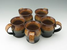 Wheel Thrown Pottery Pot Belly Coffee Mug. This mug style is our most popular size and shape and is finished with our own unique scrolled-end Great Gifts For Men, Gifts In A Mug, Wheel Thrown Pottery, Honey Brown, Pottery Mugs, Shot Glasses, Mug Cup, Handmade Pottery, Safe Food