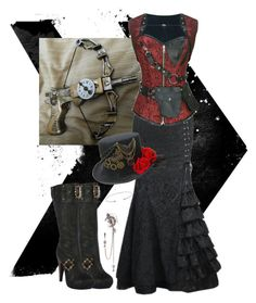 """""""Straight through the heart"""" by dirtyxgirly on Polyvore featuring steampunk corset and skirt by Dirty Girly.  www.dirtygirlystyle.com offers steampunk, gothic, victorian, cosplay and straight up sexy pieces for unbeatable prices."""