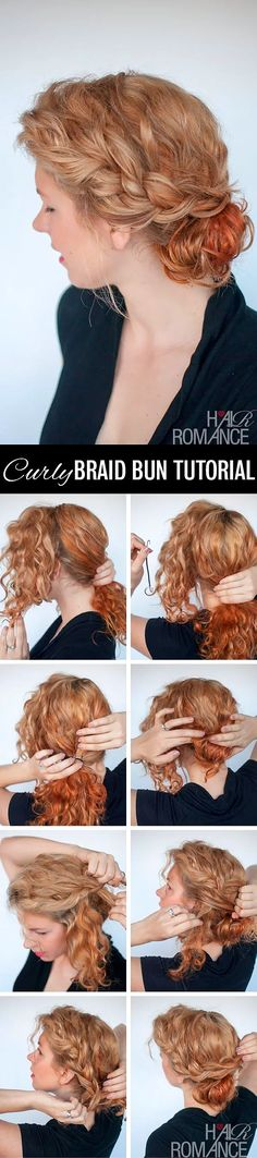 Curly bun hairstyle tutorial - two ways Hair Romance - curly twist bun hair tutorial Curly Bun Hairstyles, Curly Braids, Curly Hair Tips, Braided Hairstyles Tutorials, Pretty Hairstyles, Curly Hair Styles, Natural Hair Styles, Frizzy Hair, Hairstyle Ideas