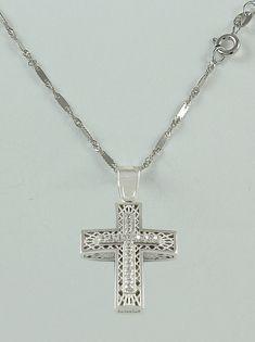 Σταυρός βάπτισης λευκόχρυσος με αλυσίδα, 14 καράτια, κορίτσι, Κωδικός WS251