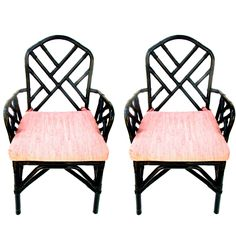 Pair of Vintage Bamboo Chippendale Arm Chairs || Black Lacquer Pink Cushions || CUSTOM COLOR AVAILABLE by ELECTRICmarigold on Etsy