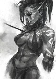 Orctober Doodles by MonoriRogue on DeviantArt Fantasy Art Women, Dark Fantasy Art, Fantasy Girl, Fantasy Artwork, Female Character Design, Character Design Inspiration, Character Art, Fantasy Races, Fantasy Warrior