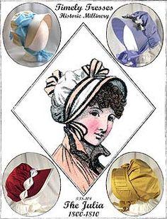 Pattern - Jane Austen - Regency Bonnet - Julia Jane Austen Online Giftshop