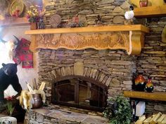 Hand carved fireplace mantles Griz Wood: