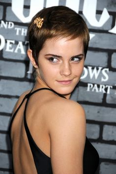 """Emma Watson Pixie"" -   Emma Watson showed off her sassy cropped cut, while attending the New York premiere of 'Harry Potter and the Deathly Hallows'. She added a little sparkle to her 'do with a gold hair pin."