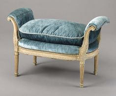 This pale blue velvet vanity bench has beautiful ornate details, and is inspired by the French Rococo style. French Rococo, Rococo Style, Louis Xvi, Antique Chairs, Antique Furniture, Cottage Style Furniture, French Sofa, Blue Armchair, Polywood Adirondack Chairs