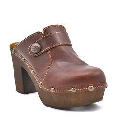 Look at this #zulilyfind! Cognac Bria Leather Clog by Sbicca #zulilyfinds