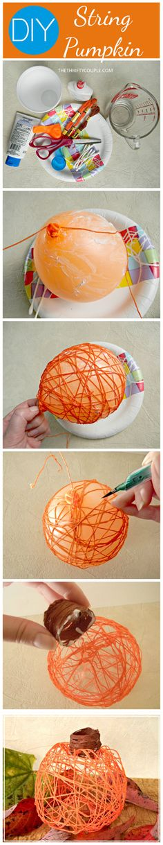 I use to make these with my mom for our home decor. They are so fun and easy! DIY string pumpkin idea. You can make all kinds of home decor items with string and a balloon.