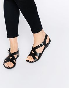 Image 1 of Pieces Jiva Black Leather Stud Flat Sandals