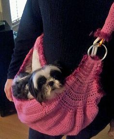 Ravelry: Haute Couture Dog Sling pattern by Robin Abdullah; for my sisters older pup maybe? Crochet Dog Clothes, Crochet Dog Sweater, Bag Crochet, Crochet Shell Stitch, Pet Clothes, Tunisian Crochet, Dog Sling, Baby Sling, Pet Bag