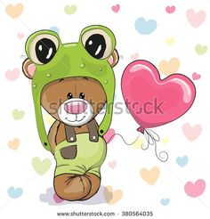 Cute Cartoon Teddy Bear in a frog hat with balloon
