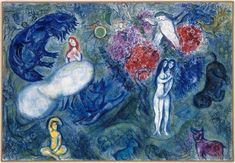 Paradise, 1961 by Marc Chagall. Surrealism. religious painting. Musée national…