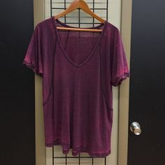 We The Free Burnout Tee Neon accented cuff short sleeve burnout v neck tee. Intentional distressing. Runs big for a small. Free People Tops Tees - Short Sleeve