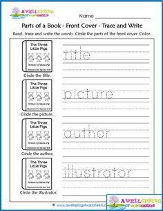 Parts of a Book Worksheets & Vocabulary Cards - Check out this set of kindergarten worksheets. This is a circle and trace page about the front cover, spine and back cover of a book. Click through to see all the fun, coordinating pages in this set! Kindergarten Library Lessons, Kindergarten Vocabulary, Library Lesson Plans, Library Skills, Kindergarten Language Arts, Kindergarten Lesson Plans, Elementary Library, Homeschool Kindergarten, Vocabulary Cards
