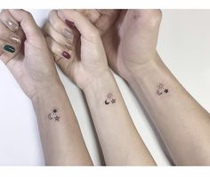 one per sibling  OR sat, blake & em Friendship Tattoos For 3, Astronomy Tattoo, Mini Tattoos, Bff Tattoos, Friend Tattoos, Finger Tattoos, Wrist Tattoos, Cute Tattoos, Tatoos