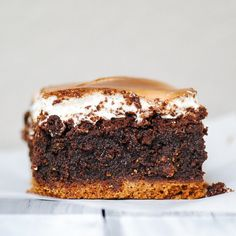 S'mores Brownie- A layer of graham cracker crust, fudgy brownie, and homemade-torched marshmallow fluff