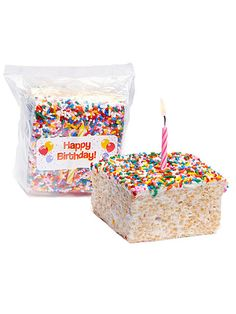 Jumbo moist marshmallow crispy treat with colorful rainbow sprinkles that comes with a birthday candle. Perfect gift to mail to a loved one far away. Crispy treat measures 4 x 4 x 2 arrives gift wrapp